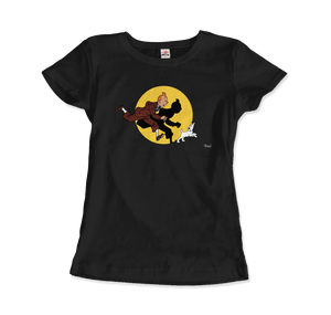 Tintin and Snowy (Milou) Getting Hit By A Spotlight T-Shirt - Women / Black / Small - T-Shirt