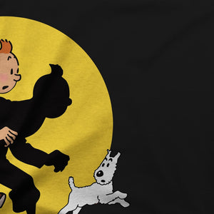 Tintin and Snowy (Milou) Getting Hit By A Spotlight T-Shirt - T-Shirt