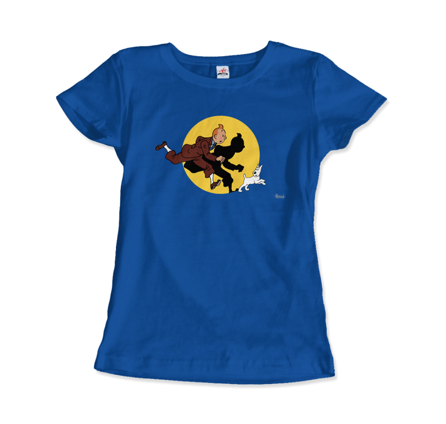 Tintin and Snowy (Milou) Getting Hit By A Spotlight T-Shirt - Women / Royal Blue / Small - T-Shirt