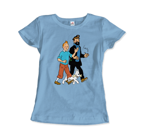 Tintin, Snowy and Captain Haddock Artwork T-Shirt - Women / Light Blue / Small by Art-O-Rama