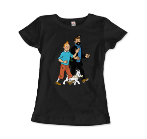 Tintin, Snowy and Captain Haddock Artwork T-Shirt - Women / Black / Small by Art-O-Rama