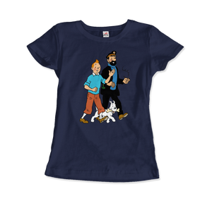Tintin, Snowy and Captain Haddock Artwork T-Shirt - Women / Navy / Small by Art-O-Rama