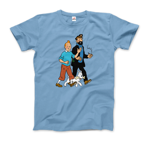 Tintin, Snowy and Captain Haddock Artwork T-Shirt - Men / Light Blue / Small by Art-O-Rama