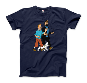 Tintin, Snowy and Captain Haddock Artwork T-Shirt - Men / Navy / Small by Art-O-Rama