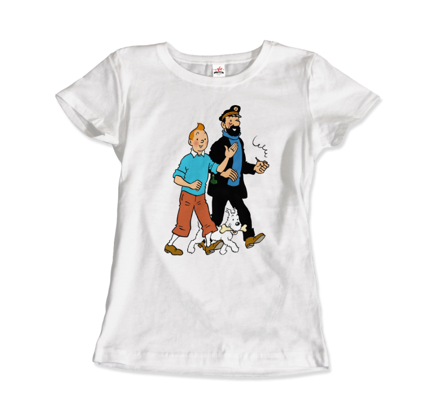 Tintin, Snowy and Captain Haddock Artwork T-Shirt - Women / White / Small by Art-O-Rama