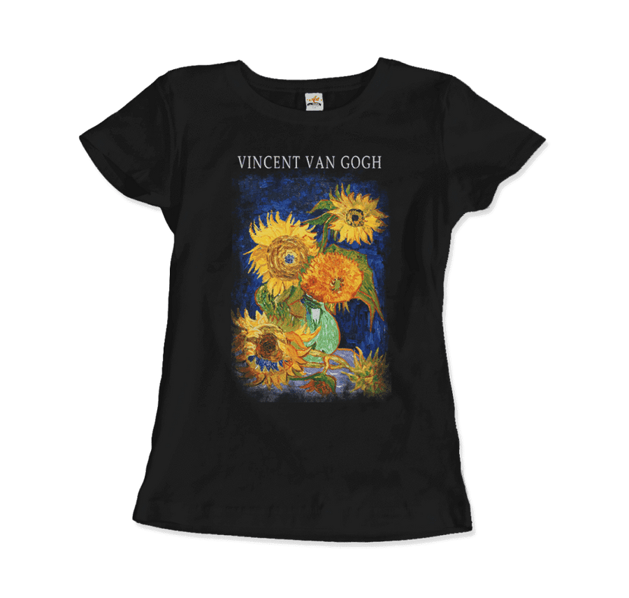Van Gogh Five Sunflowers 1888, Artwork T-Shirt - Women / Black / Small by Art-O-Rama