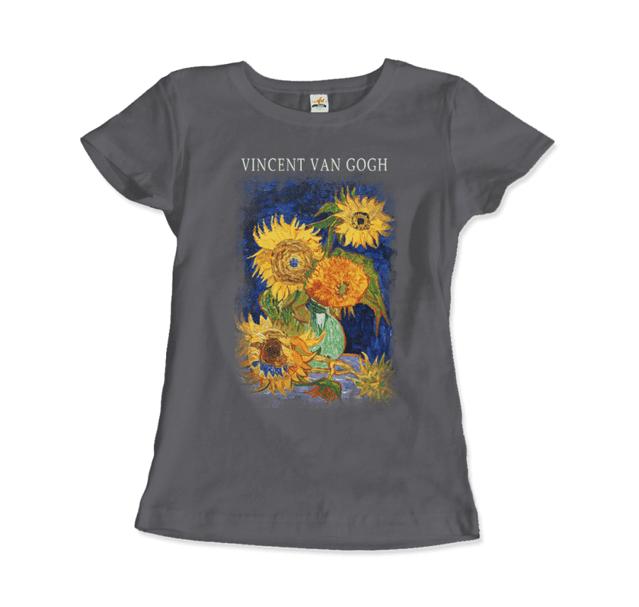Van Gogh Five Sunflowers 1888, Artwork T-Shirt - Women / Charcoal / Small by Art-O-Rama