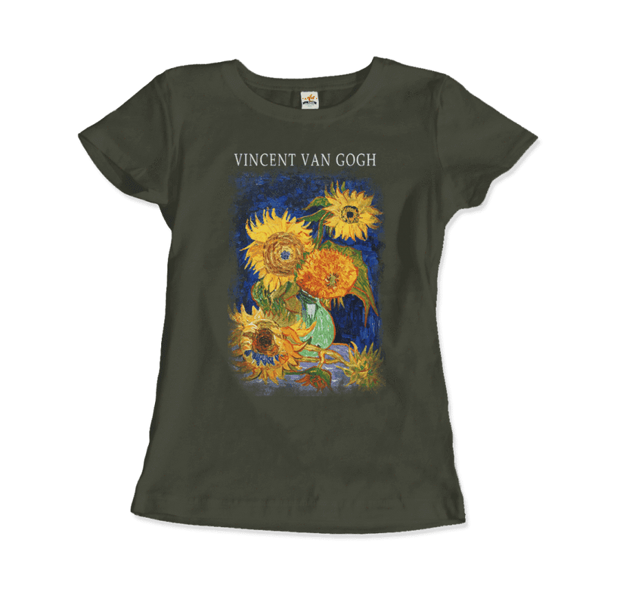 Van Gogh Five Sunflowers 1888, Artwork T-Shirt - Women / City Green / Small by Art-O-Rama