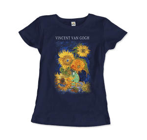 Van Gogh Five Sunflowers 1888, Artwork T-Shirt - Women / Navy / Small by Art-O-Rama