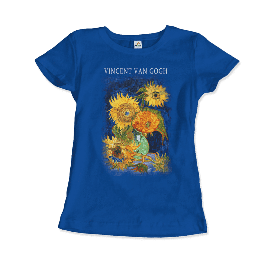 Van Gogh Five Sunflowers 1888, Artwork T-Shirt - Women / Royal Blue / Small by Art-O-Rama