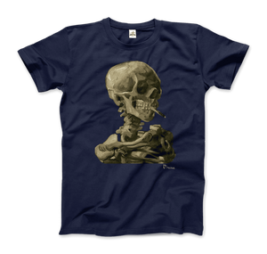 Van Gogh Skull of a Skeleton with Burning Cigarette 1886 T-Shirt - Men / Navy / Small by Art-O-Rama