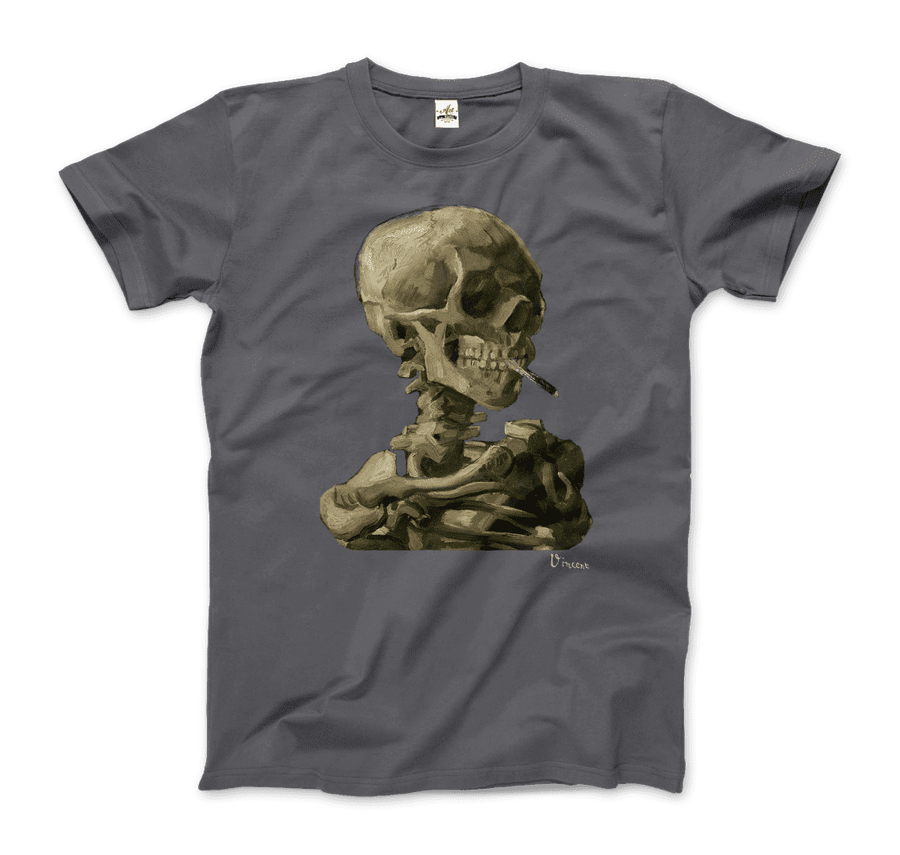 Van Gogh Skull of a Skeleton with Burning Cigarette 1886 T-Shirt - Men / Charcoal / Small by Art-O-Rama