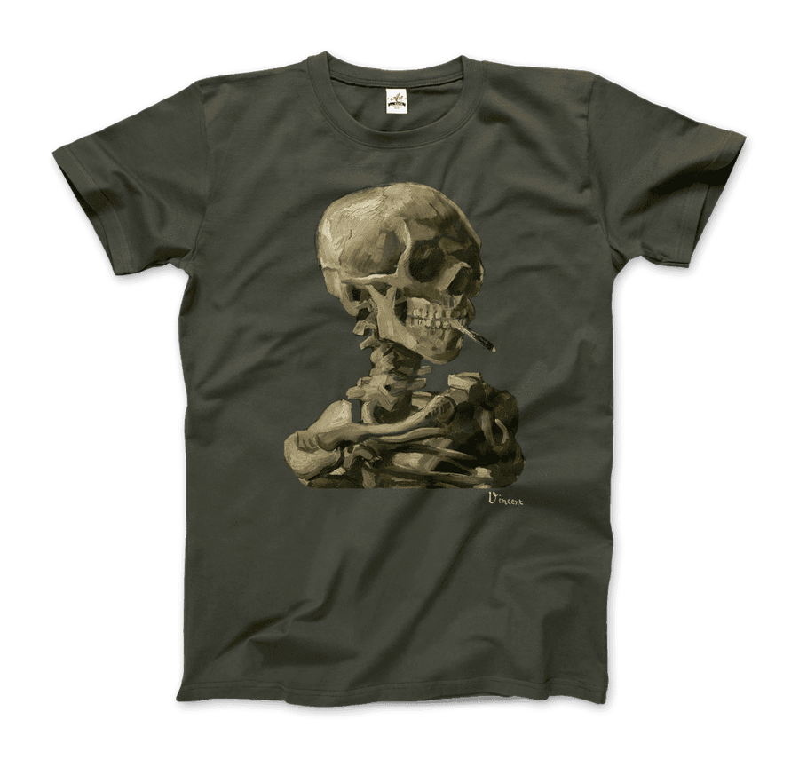 Van Gogh Skull of a Skeleton with Burning Cigarette 1886 T-Shirt - Men / City Green / Small by Art-O-Rama