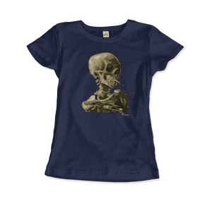 Van Gogh Skull of a Skeleton with Burning Cigarette 1886 T-Shirt - Women / Navy / Small by Art-O-Rama