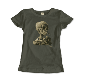 Van Gogh Skull of a Skeleton with Burning Cigarette 1886 T-Shirt - Women / City Green / Small by Art-O-Rama