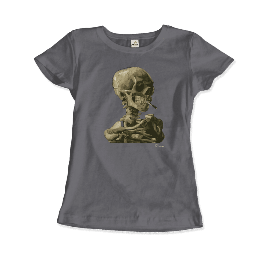 Van Gogh Skull of a Skeleton with Burning Cigarette 1886 T-Shirt - Women / Charcoal / Small by Art-O-Rama