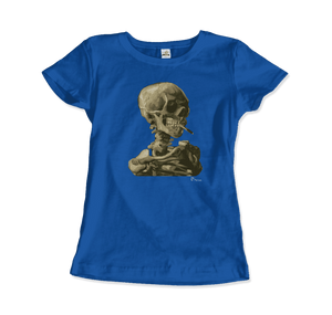 Van Gogh Skull of a Skeleton with Burning Cigarette 1886 T-Shirt - Women / Royal Blue / Small by Art-O-Rama