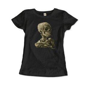 Van Gogh Skull of a Skeleton with Burning Cigarette 1886 T-Shirt - Women / Black / Small by Art-O-Rama
