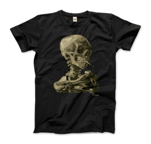 Van Gogh Skull of a Skeleton with Burning Cigarette 1886 T-Shirt - Men / Black / Small by Art-O-Rama