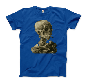Van Gogh Skull of a Skeleton with Burning Cigarette 1886 T-Shirt - Men / Royal Blue / Small by Art-O-Rama