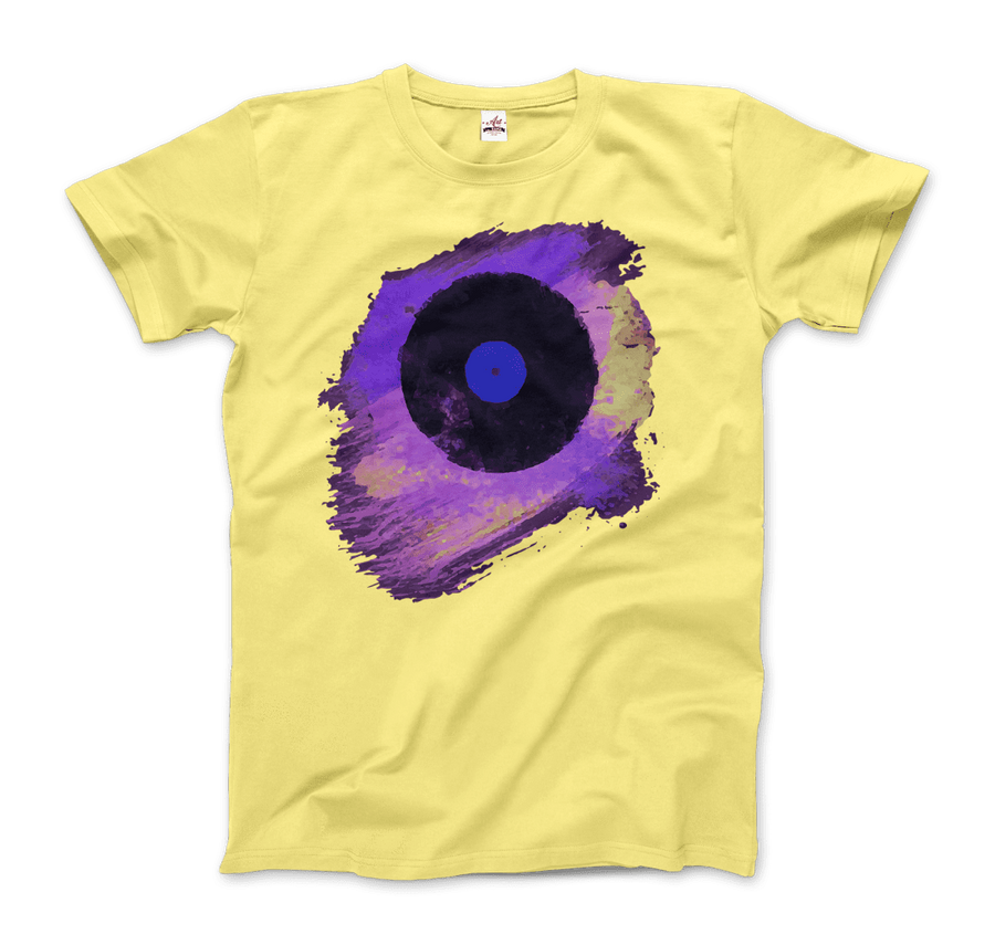 Vinyl Record Made of Paint Scattered in Purple Tones T-Shirt - Men / Spring Yellow / Small by Art-O-Rama