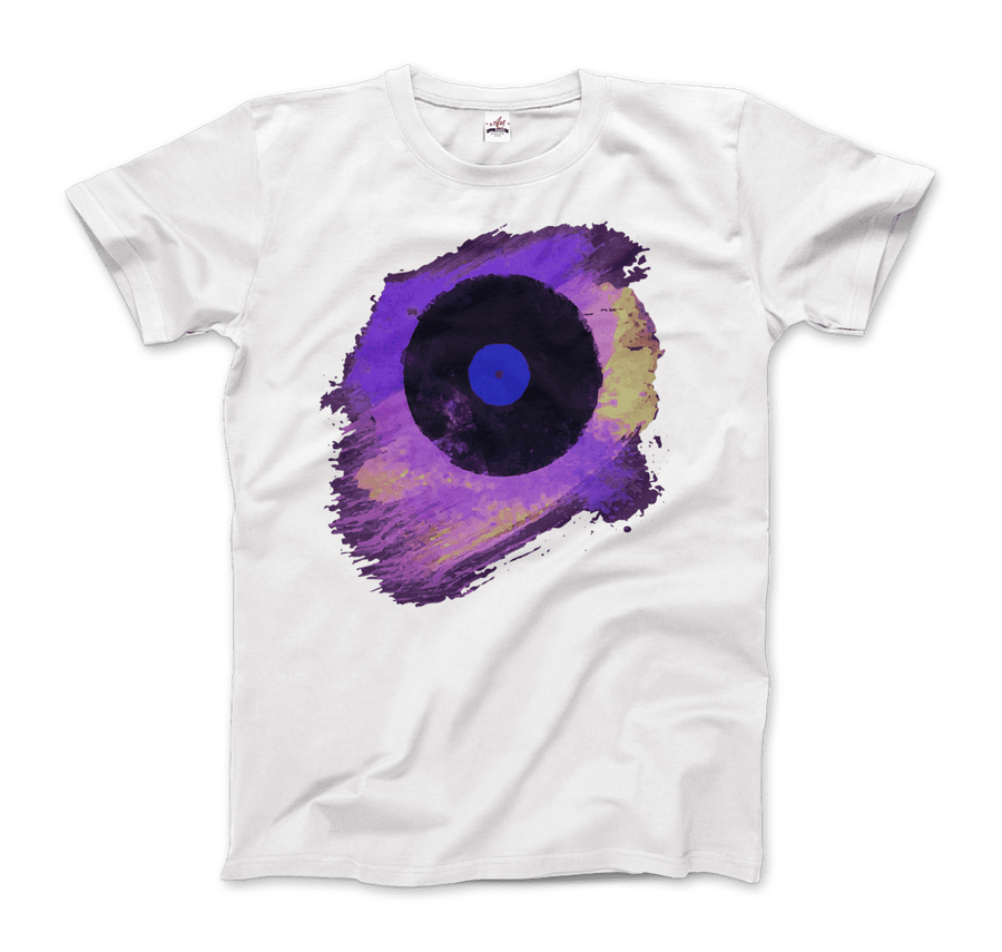 Vinyl Record Made of Paint Scattered in Purple Tones T-Shirt - Men / White / Small by Art-O-Rama