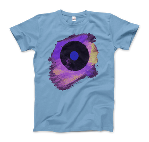 Vinyl Record Made of Paint Scattered in Purple Tones T-Shirt - Men / Light Blue / Small by Art-O-Rama