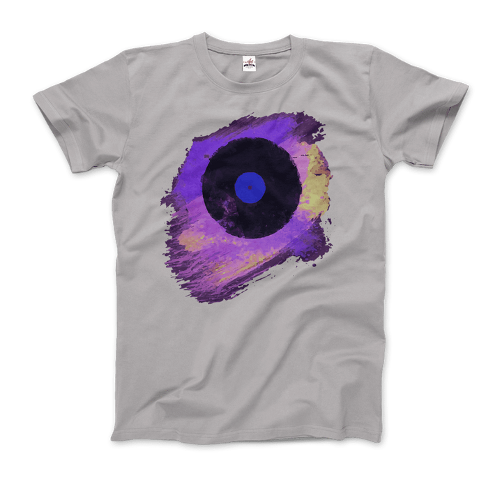 Vinyl Record Made of Paint Scattered in Purple Tones T-Shirt - Men / Silver / Small by Art-O-Rama