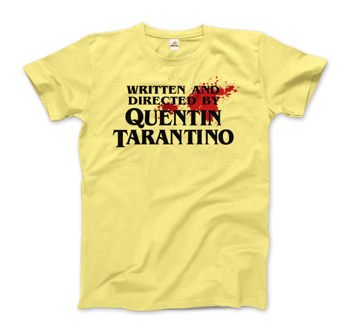Written and Directed by Quentin Tarantino (with Blood) Artwork T-Shirt - Men / Spring Yellow / Small by Art-O-Rama