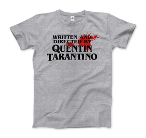 Written and Directed by Quentin Tarantino (with Blood) Artwork T-Shirt - Men / Heather Grey / Small by Art-O-Rama