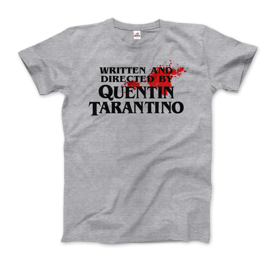 Written and Directed by Quentin Tarantino (Bloodstained) Artwork T-Shirt - Men / Heather Grey / Small by Art-O-Rama