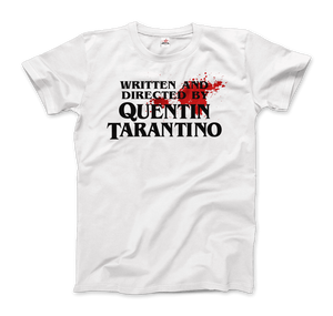 Written and Directed by Quentin Tarantino (with Blood) Artwork T-Shirt - Men / White / Small by Art-O-Rama