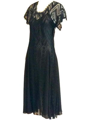Holly's Harp 70s Black Deco Dress  Jersey and Chiffon SIDE 2 of 4