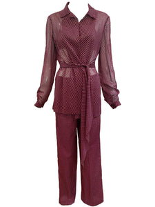 Halston 3 Piece Burgundy Polka Dot Beach Pajamas FRONT WITH BELT 1 of 6