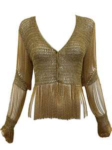 LORIS AZZARO 70s gold Crochet Cardigan with Metal Fringe FRONT 1 of 5