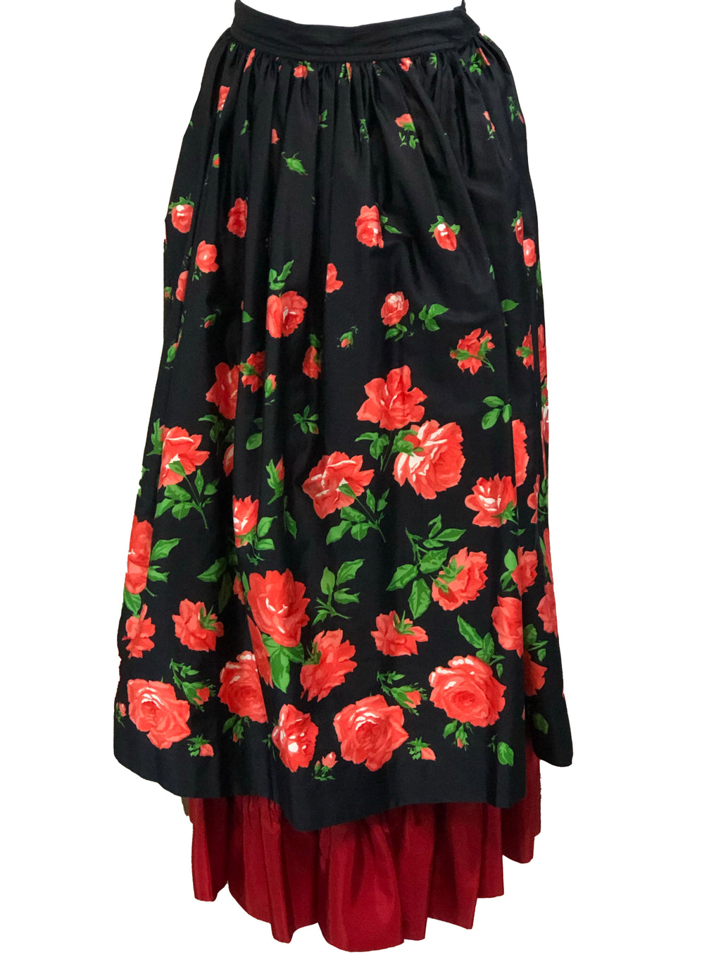 Saint Laurent Rive Gauche Layered Peasant skirt in Black and Red Floral  FRONT 1 of 4