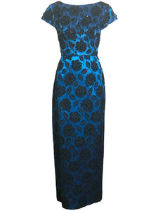 60s Electric Blue and Black Jacquard Gown with Beaded Bodice FRONT 1 of 4