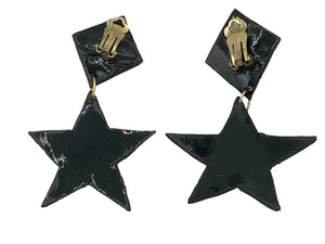 80s Girls Just Wanna Have Fun Earrings Black Rainbow Star  BACK 2 of 2
