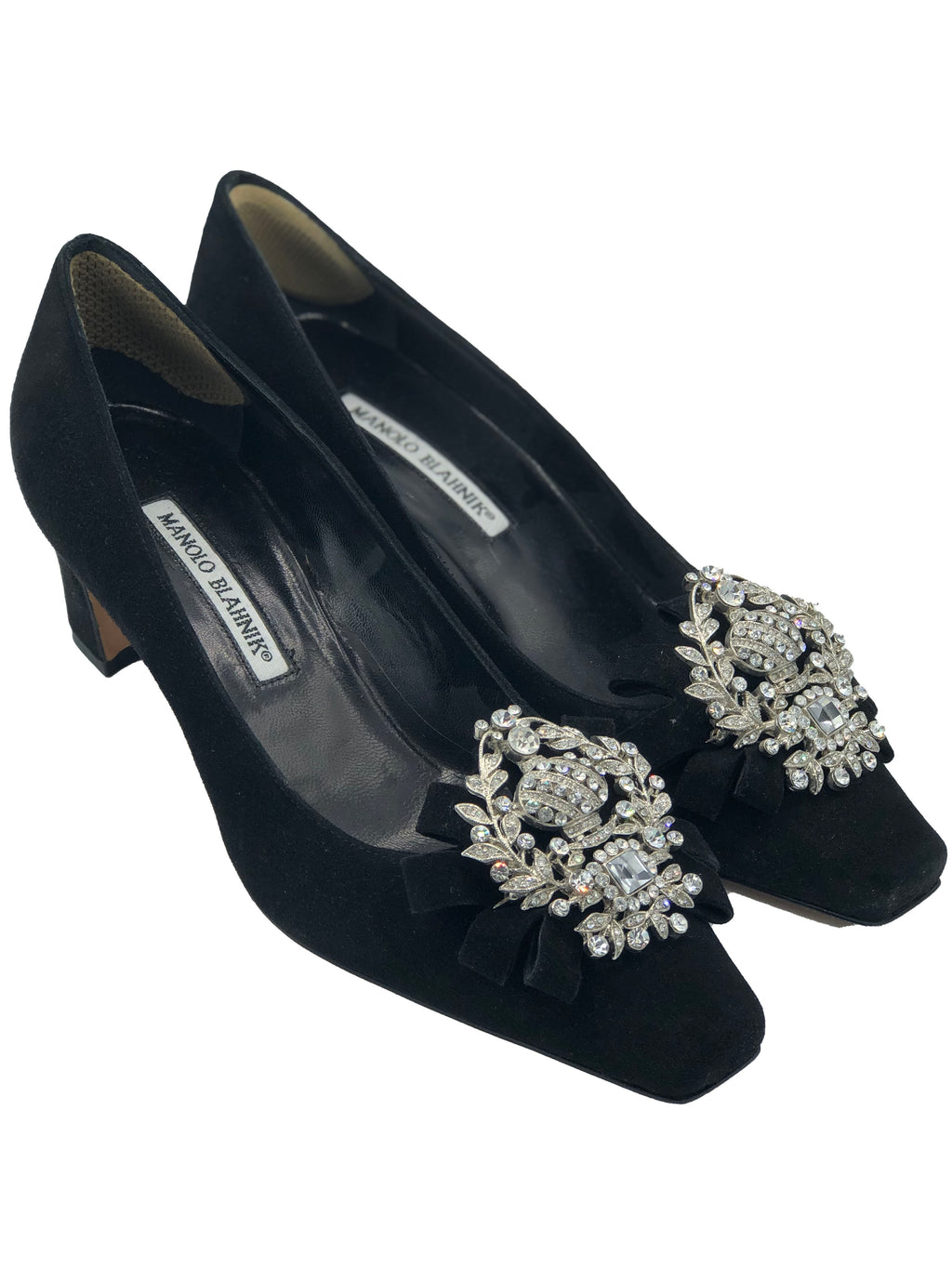 Manolo Blahnik Black Low Heeled Pumps with Diamante Decorations FRONT 1 of 3