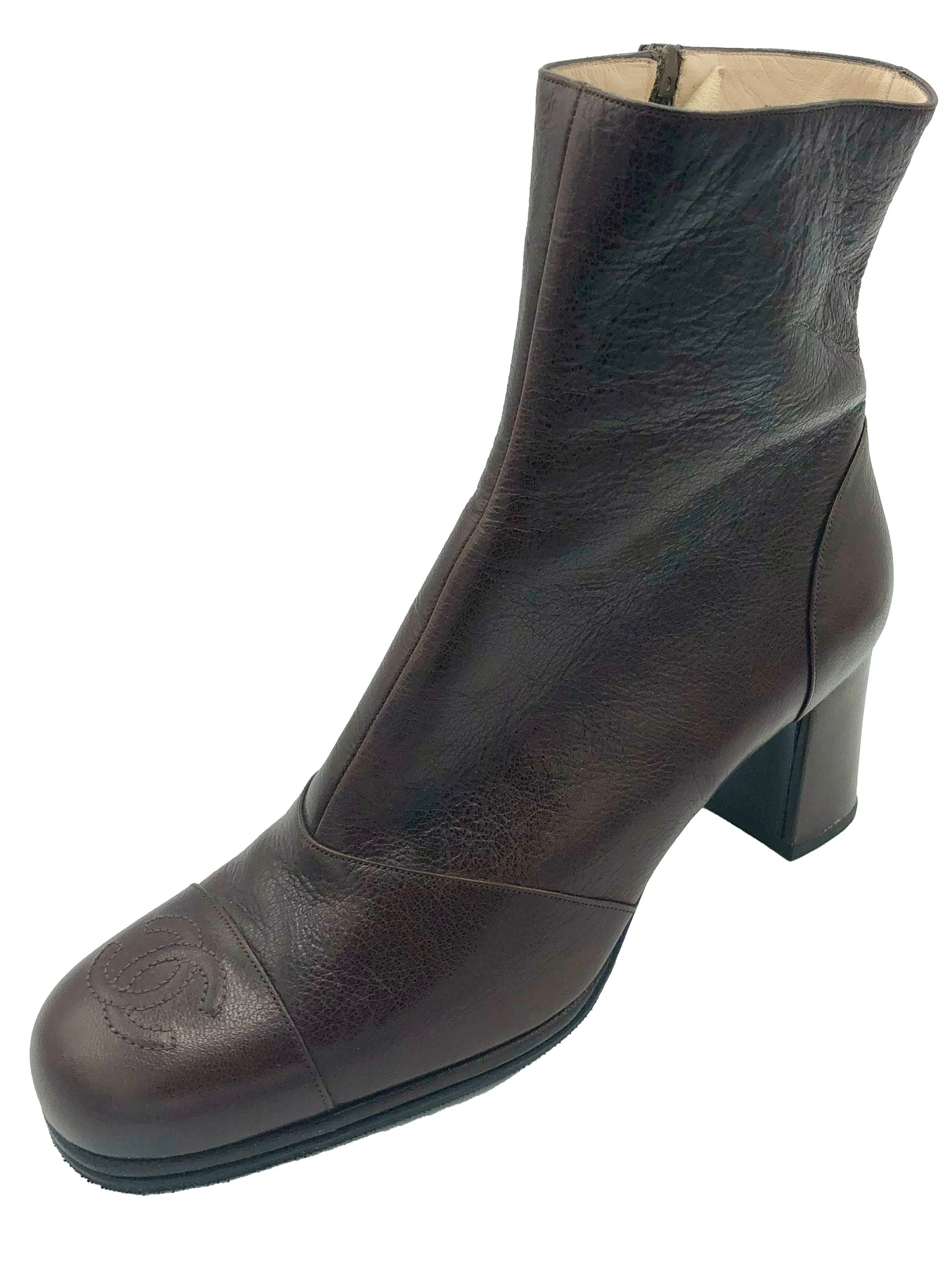 Chanel Early 2000s Chocolate Brown Ankle Boots with CC Logo SINGLE 2 of 4