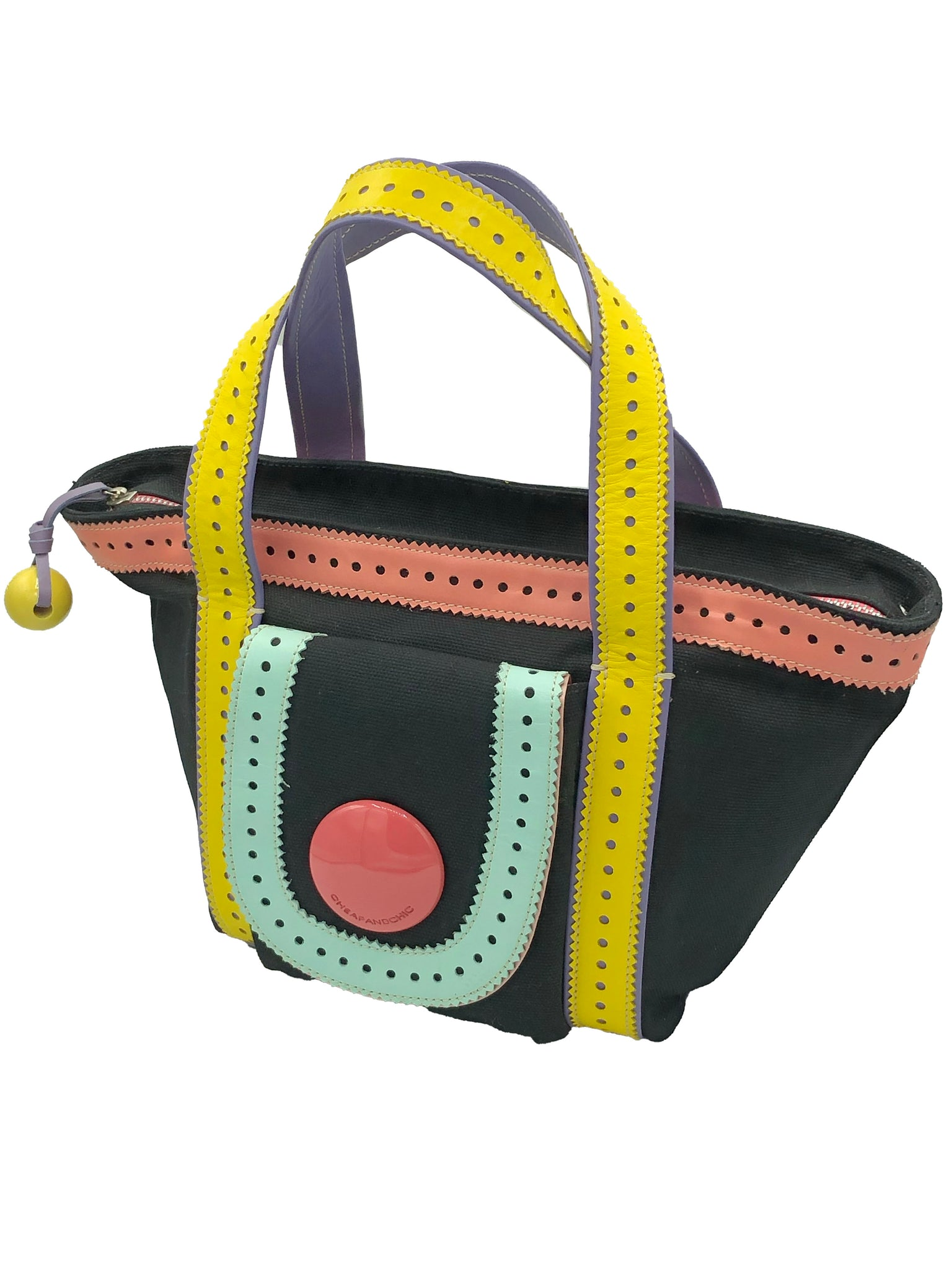 Moschino Cheap and Chic 90s Black and Rainbow Mini Canvas Tote SIDE 2 of 5