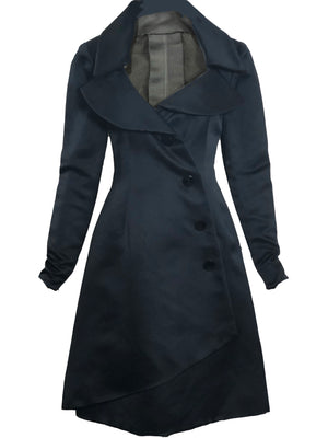 Givenchy Couture Black Satin Coat Dress FRONT 1 of 4
