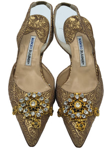 Manolo Blahnik Metallic Brocade Kitten Heeled Slingbacks FRONT 1 of 4