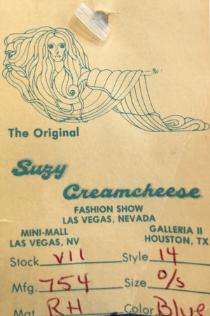 Suzy Creamcheese 70s Blue Jersey Airbrushed  Sexy Jumpsuit LABEL 5 of 5