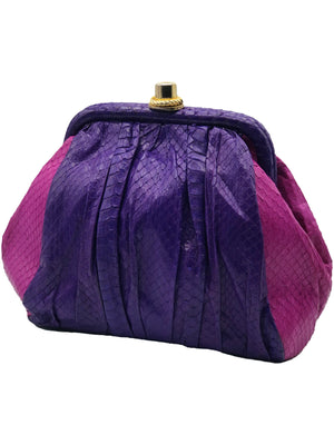 Andrea Pfister Snakeskin Shoulder Bag in Purple and Fuschia  FRONT 1 of 5