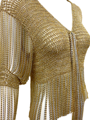 Loris Azzaro Gold and Silver Cardigan with Chain Fringe DETAIL 4 of 5