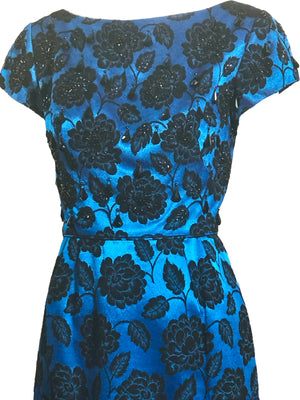 60s Electric Blue and Black Jacquard Gown with Beaded Bodice CLOSE UP BODICE 4 of 4