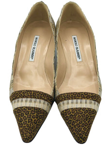 Manolo Blahnik Kitten Heeled Pumps with Leopard Toe and Heel FRONT 1 of 3
