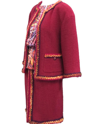 Chanel Contemporary Burgundy Boucle Suit with Matching Blouse SIDE  2 of 8