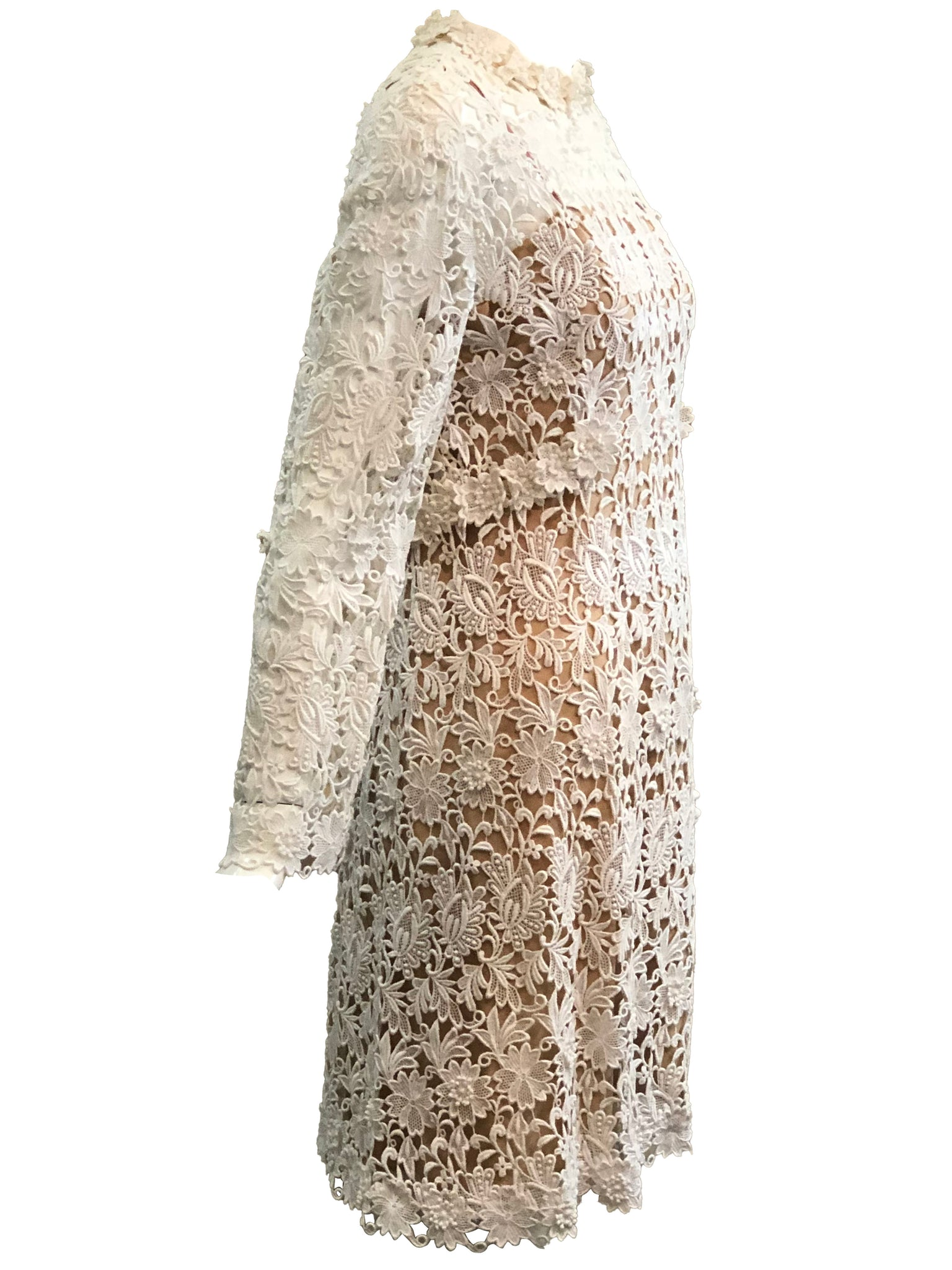 Mollie Parnis 70s Dress White Lace Bridal with Nude Underlay SIDE 2 of 4